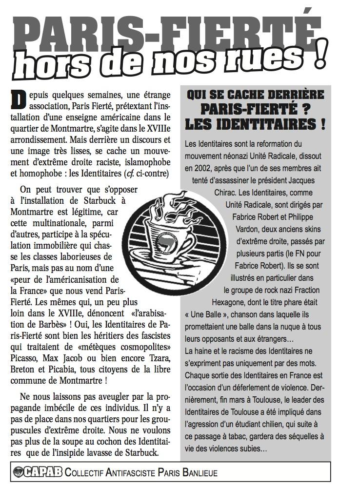 1er Tract vs Paris Fierté