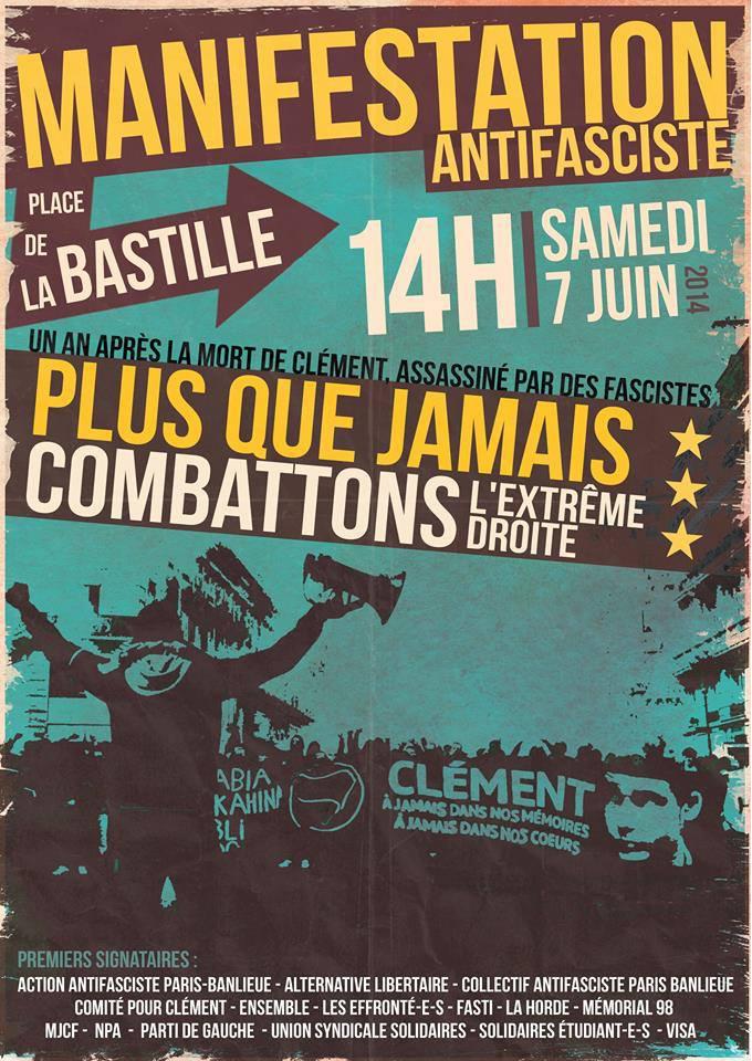 Manifestation Samedi 7 juin - Clément Méric